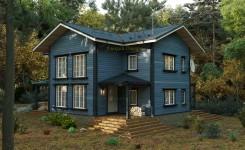 Двухэтажный частный жилой дом из бруса