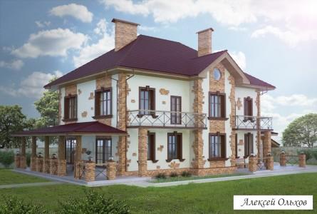 Коттедж 001-2-KG.Дом во французском стиле.Вид1