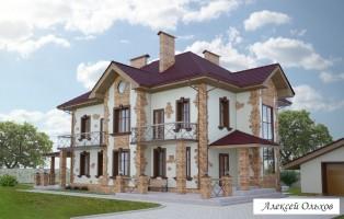 Коттедж 001-2-KG.Дом во французском стиле.Вид2