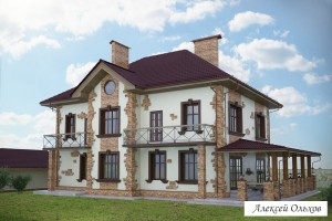 Коттедж 001-2-KG.Дом во французском стиле.Вид3
